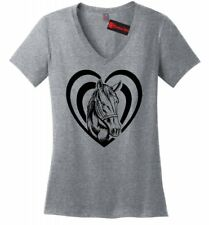 Horse Heart T Shirt Love Horse Graphic Ladies V-Neck Tee Country Cowgirl Gift Z5