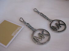 NEW MICHAEL KORS SILVER MK PURSE CHARM KEY RING FOB KEYCHAIN