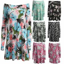 New Womens Full Sleeve Flare Swing Tropical Floral Summer Swing Dress 8-22