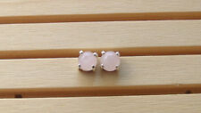 925 Sterling Pure Silver Stud with Natural Rose Quartz Round Cabochon Earring