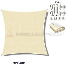 Sun Shade Sail Beige Square Canopy Awning  Patio Pool Cover UV W/6 in Kit Custom