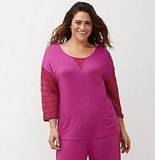 Lane Bryant Sleep Night Shirt Lace Sleeves Top PJs Plus 26/28 4X Cacique PINK
