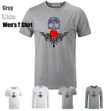 Red Roses Gothic Skull Black Cross Cross Graphic Men's Boy's T-Shirt Tee Tops