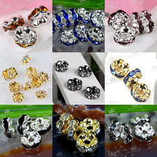 10pcs Silver Golden Plated Rondelle Crystal Rhinestone Beads Spacer 6mm Findings