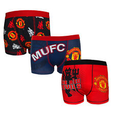 Manchester United FC Official Football Gift 3 Pack Boys Crest Boxer Shorts