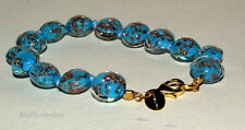 BRACELET L Blue Avventurina GOLD Murano Glass JEWEL by VENICE BIJOUX MORBIDEIDEE