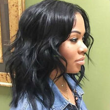 """14"""" Short Black BOB Lace Front Wig Heat Resistant Synthetic Hair Wave Kinky Curl"""