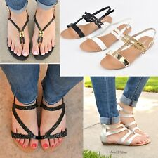 NEW Women's Casual Summer Flat Thong Strappy Gladiator Sandals Shoes Size