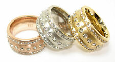 Stainless steel ring Ladies 12mm silber rose gold gold Series 3 strass