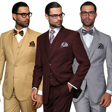 Modern Fit 2 Button 3-Pc Solid Color Tuxedo Suit by Statement STZV-100 RP $799