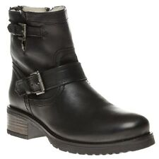 New Womens SOLE Black Yeti Leather Boots Ankle Buckle Zip