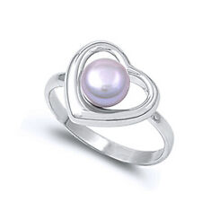 Women 13mm 925 Sterling Silver Freshwater Cultured Pearl Heart Ladies Ring Band
