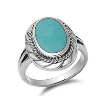 Women 20mm 925 Sterling Silver Simulated Turquoise Cocktail Ring Band