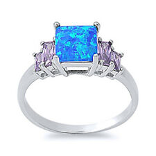 Women 8mm 925 Silver Blue Opal Radiant Cut CZ Five Stone Anniversary Ring Band