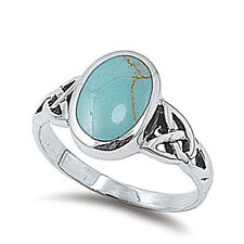 Men Women 12mm 925 Sterling Silver Simulated Turquoise Celtic Knot Ring Band