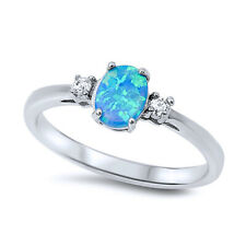 Women 6mm 925 Sterling Silver Oval Simulated Blue Opal Ladies Ring Band