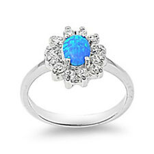 Women 13mm 925 Sterling Silver Simulated Blue Opal Flower Ladies Ring Band