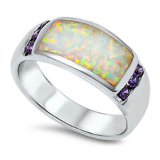 Women 9mm Sterling Silver Simulated White Opal Purple CZ Band Ladies Ring Band