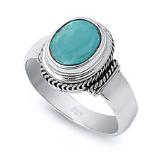 Women 13mm Sterling Silver Simulated Turquoise Vintage Style Cocktail Ring Band