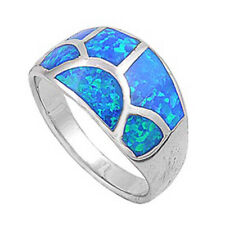 Women 12mm 925 Sterling Silver Simulated Blue Opal Domed Band Ladies Ring Band