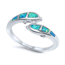 Women 9mm Sterling Silver Simulated Blue Opal Two Dolphins Open Ladies Ring Band