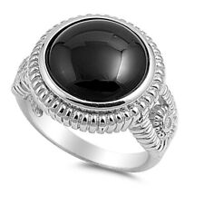 Women 18mm 925 Sterling Silver Round Simulated Black Onyx Cocktail Ring Band