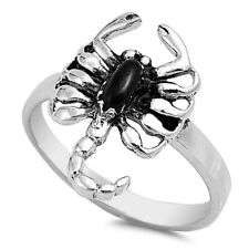 Men Women 18mm 925 Sterling Silver Simulated Black Onyx Scorpion Ring Band