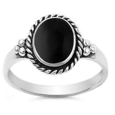 Women 12mm 925 Sterling Silver Simulated Black Onyx Vintage Ladies Ring Band