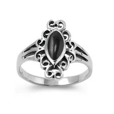 Women 17mm 925 Silver Marquise Simulated Black Onyx Vintage Ladies Ring Band