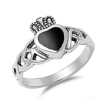 Men Women 11mm 925 Silver Simulated Black Onyx Heart Celtic Claddagh Ring Band