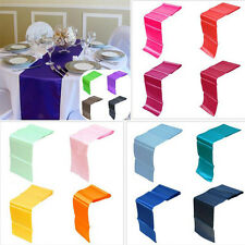 "12""x108"" Satin Table Runner Wedding Party Banquet Venue Decorations 13Colors TP"