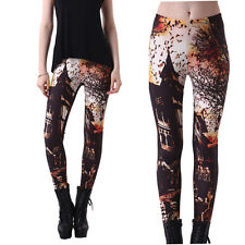 Sexy Womens Haunted House Printed Leggings Skinny Pants Stretchy Trousers Fall