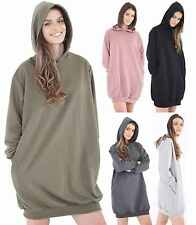 WOMENS LADIES RIPPED DISTRESSED OVERSIZED LONGLINE HOODED SWEATSHIRT DRESS TOP