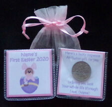 PERSONALISED LUCKY SIXPENCE BABY GIRL'S FIRST EASTER KEEPSAKE GIFT 10 DESIGNS