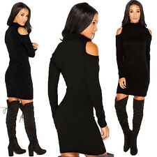 HOT WOMEN'S SEXY BODYCON HIGH NECK KNITTING LONG SLEEVE PARTY SLIM DRESS COMFY