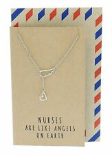 Heart Lariat Angel Wing Necklace, Gifts for Nurses, Pretty Wings Pendant-Nursing