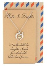 Mother Daughter Heart Pendant Necklace, Mom Love, Hearts Charm Jewelry Gift