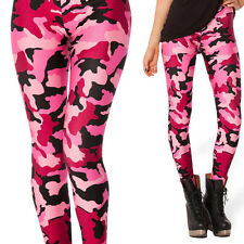Sexy Pink Camo Camouflage Leggings Womens Skinny Pants Stretchy Fall Clothing