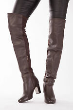 Womens Ladies Over The Knee Brown Boots Shoes High Heel Block Size 3-8