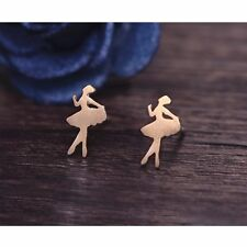 Silver Gold Plated Tiny Ballerina Ballet Dancer Earrings Studs in Gift Bag/Box