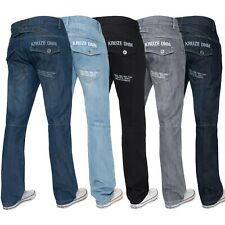New KRUZE Mens Straight Fit Denim Fashion Branded Trousers All Sizes Trendy