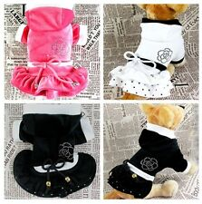 Small Girl Dog Cat Pet Clothes Apparel Hoodie Flower Princess Soft Dress Costume