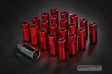 GSP t-5 wheel rim racing lug nuts 50mm 20 piece M12 X 1.5 OPEN/CLOSE end RED