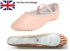Ballet Dance Leather Full Sole Shoes Handmade with Attached Elastics