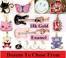 18k Gold & Enamel Dangle Clip On Charm With 18k Gold Lobster Clasp Floating DIY
