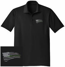 THIN GREEN LINE WAVING FLAG Embroidered DRYFIT Black Polo Shirt-Free Shipping