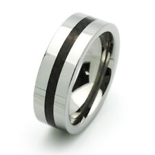 Men 8MM Comfort Fit Tungsten Carbide Wedding Band Carbon Fiber Inlaid Black Ring