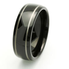 Men 8MM Comfort Fit Tungsten Carbide Wedding Band Domed Black Ring / GIFT BOX