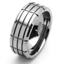 Men 9MM Tungsten Carbide Wedding Band Beveled Edges Grooved Tungsten Ring