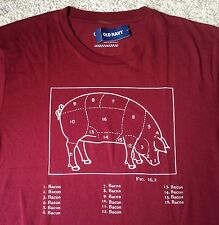 Funny Mens BACON BACON BACON T-SHIRT Dark Red/Maroon Pig Cuts Of Meat Butcher